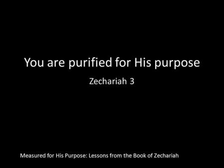 You are purified for His purpose Zechariah 3 Measured for His Purpose: Lessons from the Book of Zechariah.