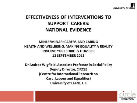 EFFECTIVENESS OF INTERVENTIONS TO SUPPORT CARERS: NATIONAL EVIDENCE MINI SEMINAR: CARERS AND CARING HEALTH AND WELLBEING: MAKING EQUALITY A REALITY INVOLVE.