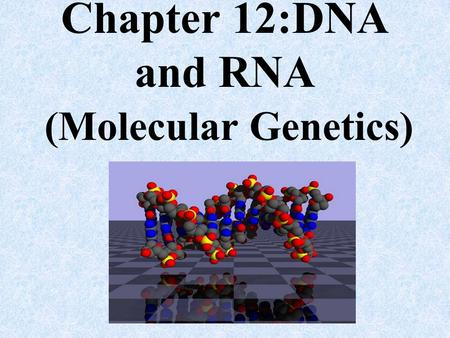 Chapter 12:DNA and RNA (Molecular Genetics).
