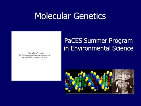 Molecular Genetics PaCES Summer Program in Environmental Science.