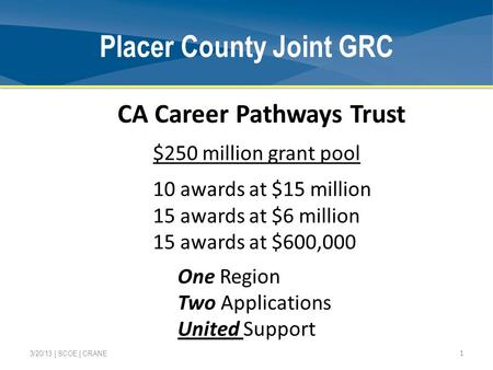 Placer County Joint GRC 1 3/20/13 | SCOE | CRANE CA Career Pathways Trust $250 million grant pool 10 awards at $15 million 15 awards at $6 million 15 awards.