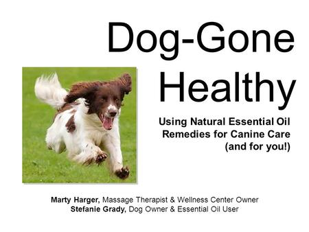 Dog-Gone Healthy Using Natural Essential Oil Remedies for Canine Care (and for you!) Marty Harger, Massage Therapist & Wellness Center Owner Stefanie Grady,