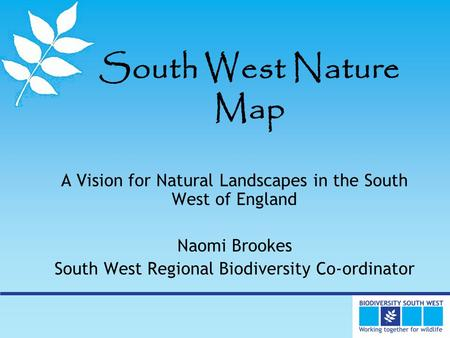 South West Nature Map A Vision for Natural Landscapes in the South West of England Naomi Brookes South West Regional Biodiversity Co-ordinator.