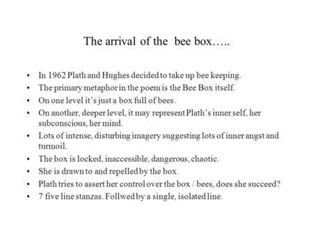 The arrival of the bee box…..
