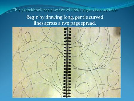 Begin by drawing long, gentle curved lines across a two page spread.