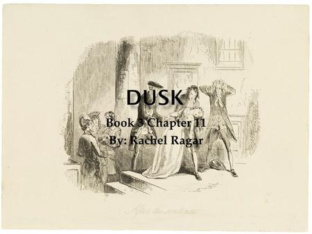 "Book 3 Chapter 11 By: Rachel Ragar.  The definition of dusk is ""the darker stage of twilight""  one of the darker chapters of the book."
