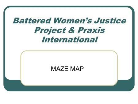Battered Women's Justice Project & Praxis International MAZE MAP.