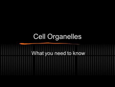 Cell Organelles What you need to know.