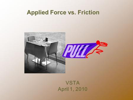 Applied Force vs. Friction VSTA April 1, 2010.  1. Practice scaffolding guided inquiry with a science lesson. WORKSHOP GOALS  3Examine student work.