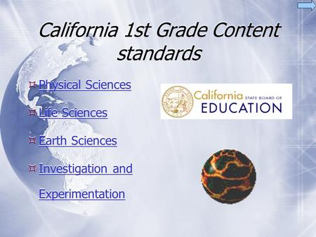 California 1st Grade Content standards  Physical Sciences Physical Sciences  Life Sciences Life Sciences  Earth Sciences Earth Sciences  Investigation.