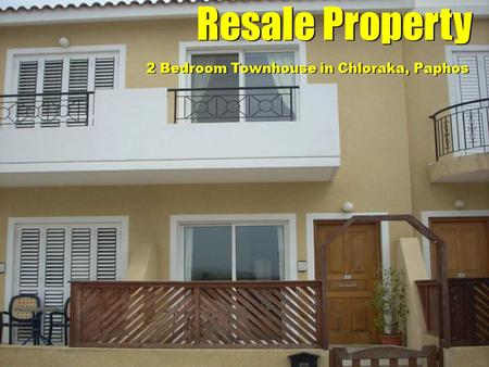 Resale Property 2 Bedroom Townhouse in Chloraka, Paphos.