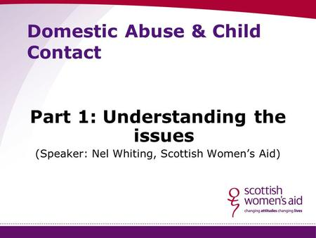 Domestic Abuse & Child Contact Part 1: Understanding the issues (Speaker: Nel Whiting, Scottish Women's Aid)