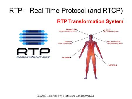 Copyright 2003-2010 © by Elliot Eichen. All rights reserved. RTP – Real Time Protocol (and RTCP)