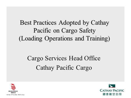 Cargo Services Head Office Cathay Pacific Cargo