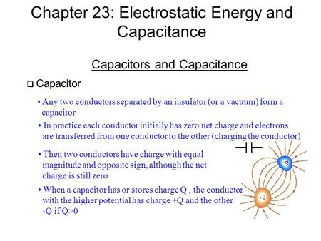 Chapter 23: Electrostatic Energy and Capacitance