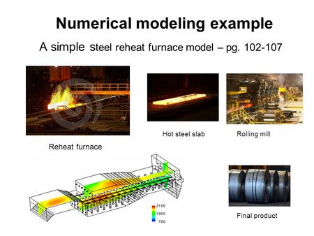 Numerical modeling example A simple s teel reheat furnace model – pg. 102-107 Reheat furnace Hot steel slabRolling mill Final product.