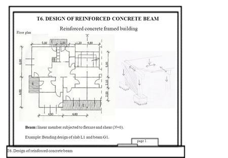 T6. DESIGN OF REINFORCED CONCRETE BEAM Reinforced concrete framed building T6. Design of reinforced concrete beam page 1. Alaprajz Floor plan Beam: linear.