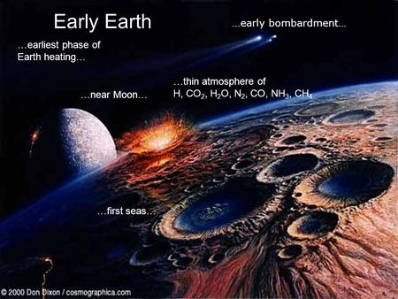 Early Earth …earliest phase of Earth heating… …near Moon… …first seas… …thin atmosphere of H, CO 2, H 2 O, N 2, CO, NH 3, CH 4 …early bombardment…