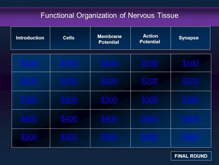 Functional Organization of Nervous Tissue $100 $200 $300 $400 $500 $100$100$100 $200 $300 $400 $500 Introduction FINAL ROUND Cells Membrane Potential Action.
