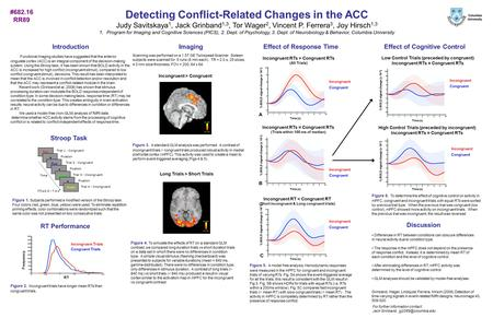 Detecting Conflict-Related Changes in the ACC Judy Savitskaya 1, Jack Grinband 1,3, Tor Wager 2, Vincent P. Ferrera 3, Joy Hirsch 1,3 1.Program for Imaging.