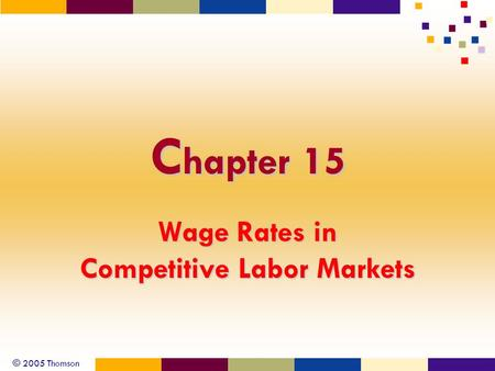 © 2005 Thomson C hapter 15 Wage Rates in Competitive Labor Markets.