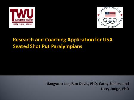 Research and Coaching Application for USA Seated Shot Put Paralympians.