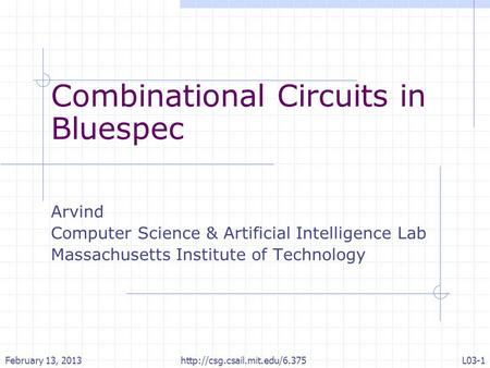 Combinational Circuits in Bluespec