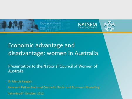 Economic advantage and disadvantage: women in Australia Presentation to the National Council of Women of Australia Dr Marcia Keegan Research Fellow, National.