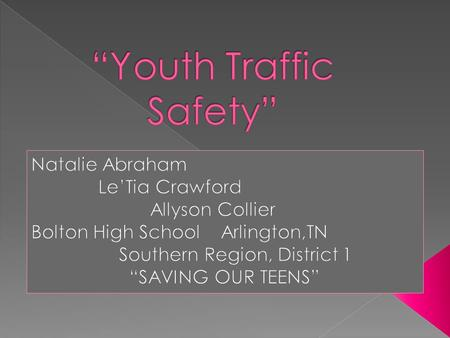 "Creative Commons License ""Youth Traffic Safety"" by Bolton FCCLA Morgan's Leaders is licensed under a Creative Commons Attribution-NonCommercial- NoDerivs."