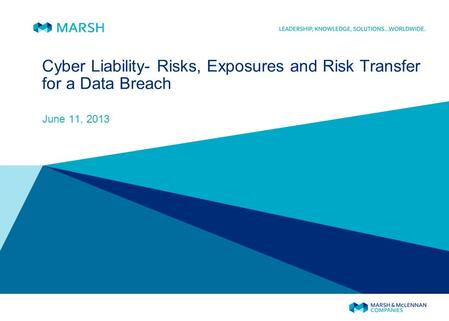Cyber Liability- Risks, Exposures and Risk Transfer for a Data Breach June 11, 2013.