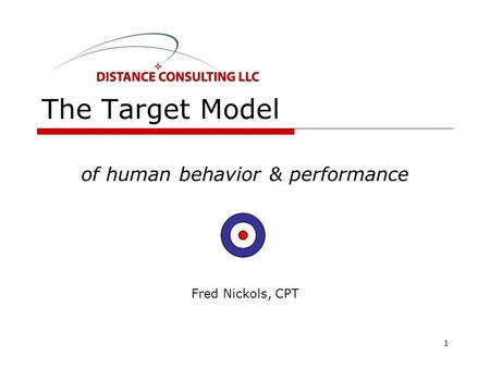 The Target Model of human behavior & performance Fred Nickols, CPT 1.