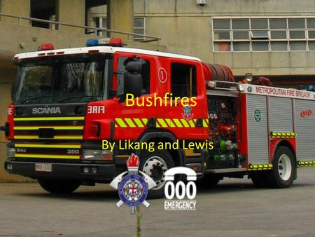 Bushfires By Likang and Lewis. What is a bushfire? A bush fire is a fire that can be lit naturally or by person.