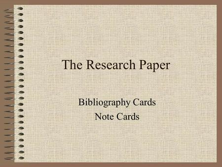 Bibliography Cards Note Cards