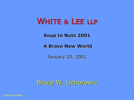 Bruce Lichorowic 1 W HITE & L EE LLP Soup to Nuts 2001 A Brave New World January 20, 2001 Bruce W. Lichorowic.