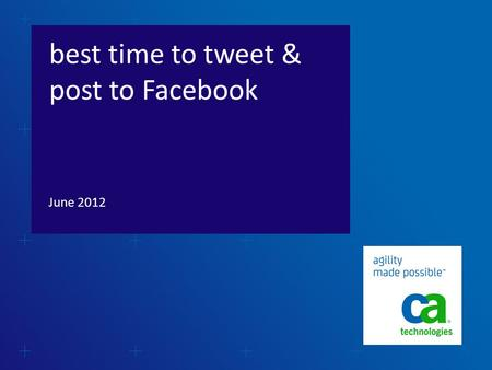 Best time to tweet & post to Facebook June 2012.  Based on a report released by Bitly in May 2012 that monitored click-through rates for content shared.