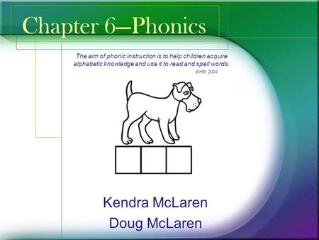 Chapter 6—Phonics Kendra McLaren Doug McLaren