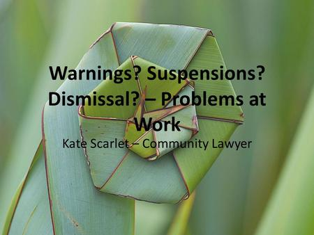 Warnings? Suspensions? Dismissal? – Problems at Work Kate Scarlet – Community Lawyer.