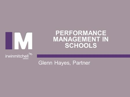 Performance management IN SchOOLS