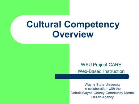 Cultural Competency Overview WSU Project CARE Web-Based Instruction Wayne State University in collaboration with the Detroit-Wayne County Community Mental.