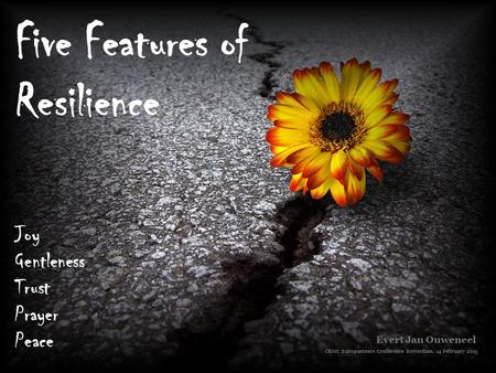 Five Features of Resilience Joy Gentleness Trust Prayer Peace Evert Jan Ouweneel CBMC Europartners Conference Rotterdam, 14 February 2015.