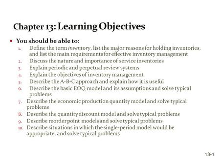 Chapter 13: Learning Objectives