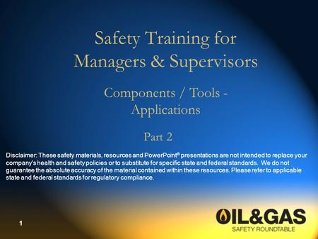 Safety Training for Managers & Supervisors