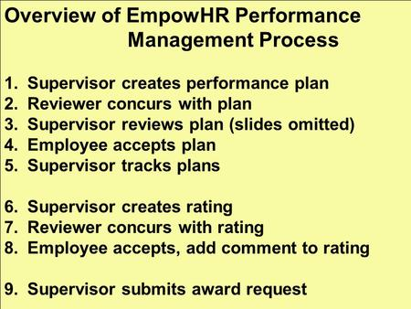 Overview of EmpowHR Performance Management Process 1.Supervisor creates performance plan 2.Reviewer concurs with plan 3.Supervisor reviews plan (slides.