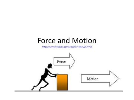 Force and Motion https://www.youtube.com/watch?v=8iKhLGK7HGk https://www.youtube.com/watch?v=8iKhLGK7HGk.