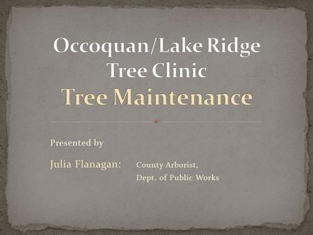 Presented by Julia Flanagan: County Arborist, Dept. of Public Works.