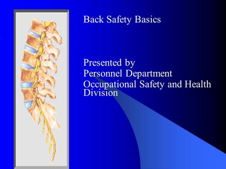 Back Safety Basics Presented by Personnel Department Occupational Safety and Health Division.