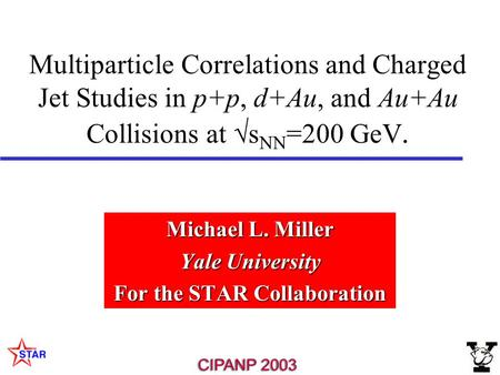Multiparticle Correlations and Charged Jet Studies in p+p, d+Au, and Au+Au Collisions at  s NN =200 GeV. Michael L. Miller Yale University For the STAR.