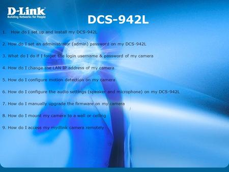 DCS-942L How do I set up and install my DCS-942L