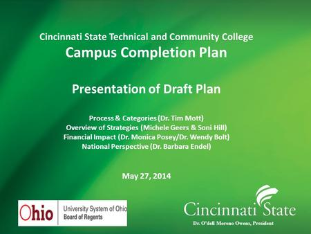 Cincinnati State Technical and Community College Campus Completion Plan Presentation of Draft Plan Process & Categories (Dr. Tim Mott) Overview of Strategies.
