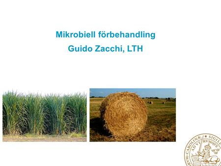 Mikrobiell förbehandling Guido Zacchi, LTH. Develop and optimise pretreatment of lignocellulosic agricultural raw materials and rest products 1.Pre-pretreatment.